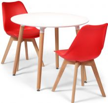 Toulouse Dining Set  - 90cms Round White Table & 2 Red Chairs